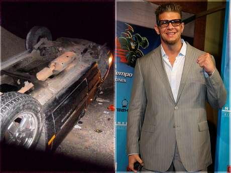 Marco Corleone compartió una foto en Twitter de cómo quedó su camioneta tras el accidente.