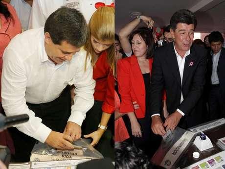 Os candidatos Horacio Cartes, do Partido Colorado, e Efrain Alegre, do Partido Liberal, votando neste domingo no Paraguai
