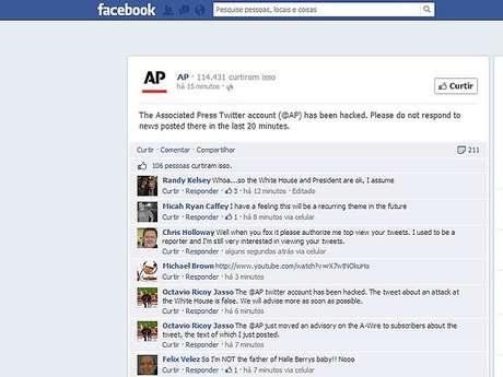<p>Pela sua página no Facebook, agência AP confirmou ataque à sua conta no Twitter</p>