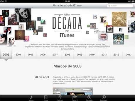 Apple lança linha do tempo para celebrar 10 anos do iTunes
