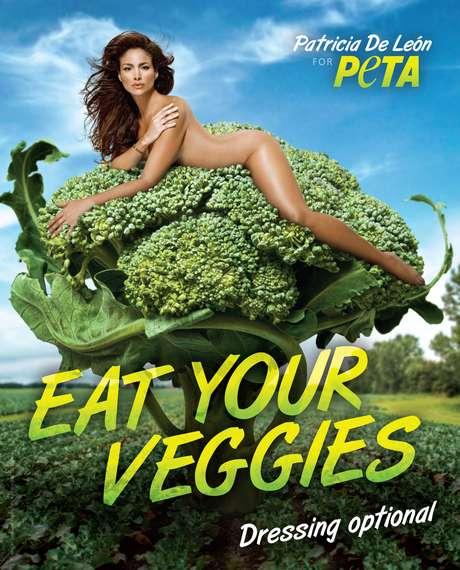 La actriz panameña Patricia de León se desnuda para promover la dieta vegana