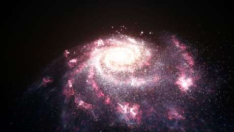 Concepção artística mostra galáxia passando por um nascimento estelar