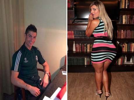 Cristiano Ronaldo photographed at the Villa Magna Hotel (l) and Andressa Urach, aka Miss BumBum (r).