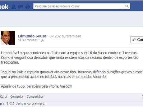<p>Edmundo desabafou contra preconceito sofrido por equipe Sub-16 do Vasco</p>
