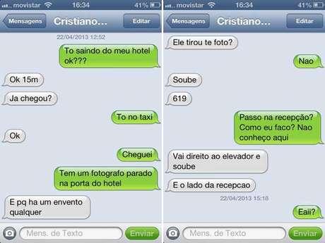 Imagens da suposta conversa entre a vice-Miss Bumbum 2012 e o atacante do Real Madrid