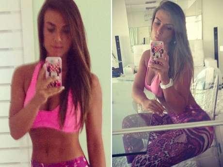 """Em seu perfil na rede social Instagram, Nicole Bahls, postou fotos em que aparece com roupa de ginástica. Na legenda das imagens, ela escreveu: """"bom dia... Hora de malhar"""""""