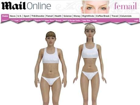 <p>A imagem estima que se Barbie fosse uma mulher de verdade, ela pesaria 50 kg e teria o IMC 16,24</p>