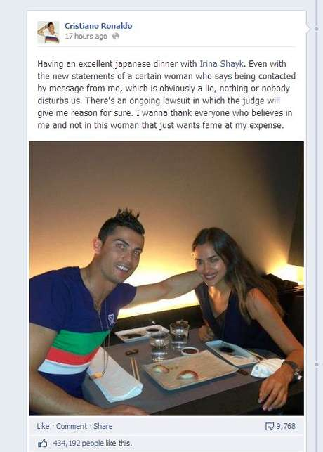<p>Ronaldo's post of Facebook</p>