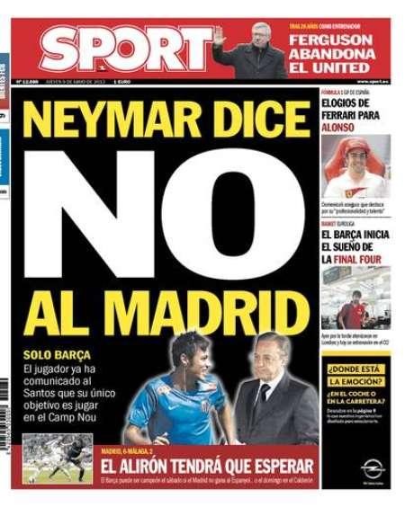 <p>Capa do jornal <em>Sport </em>publica que Neymar preferiria Barcelona</p>