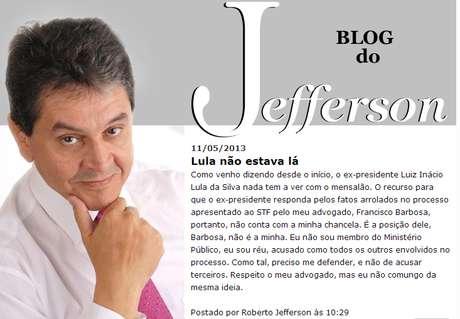 Roberto Jefferson publicou a declaração em seu blog pessoal