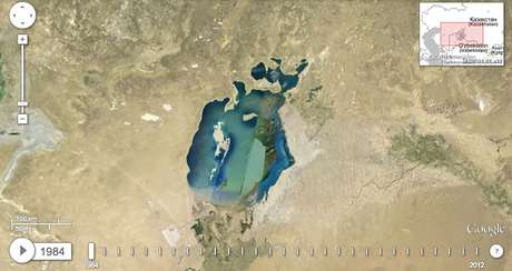 <p>Por medio de la nueva herramienta Google Earth Engine, en conjunción con la NASA, se puede apreciar los drásticos cambios que han sufrido diferentes ubicaciones alrededor del mundo.</p><p>1.-La drástica disminución del Mar Aral</p>