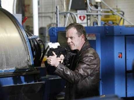 <p>O ator Kiefer Sutherland na pele de Jack Bauer, herói da série da 20th Century Fox</p>