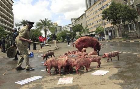 <p>Policial observa porcos deixados por manifestantes em frente ao Parlamento</p>