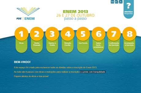 A página foi criada pelo MEC para esclarecer dúvidas de candidatos sobre o Enem 2013