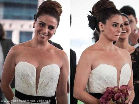 Helô (Giovanna Antonelli) usará um vestido tomara que caia de renda para se casar em 'Salve Jorge'