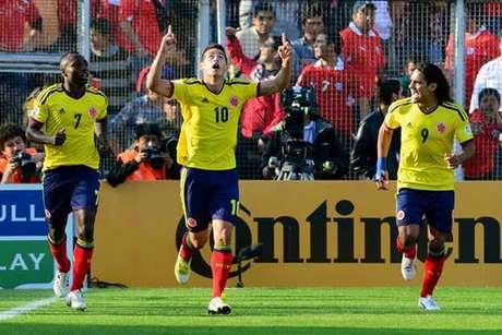 Falcao y James en la Selección Colombia.