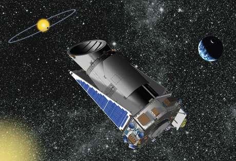 Projeção artística mostra o telescópio espacial Kepler