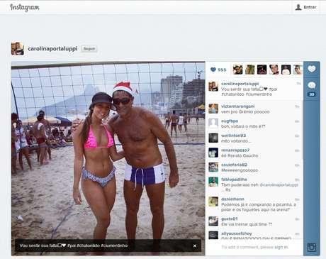 Carol Portaluppi postou foto ao lado do pai com mensagem que instigou gremistas