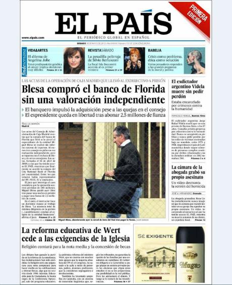 """<p>'El País' titula con que """"Blesa compró el banco de Florida sin una valoración independiente"""".</p>"""