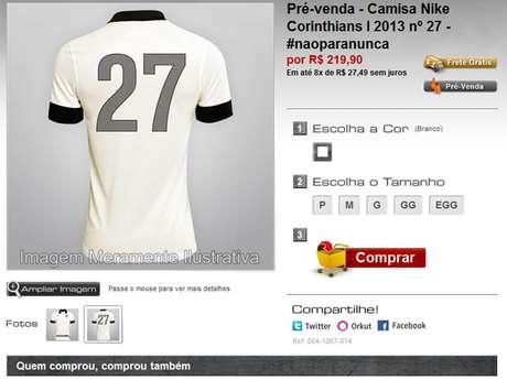 Corinthians vende camisa comemorativa de 27º título paulista por R  219 efd49767f672e