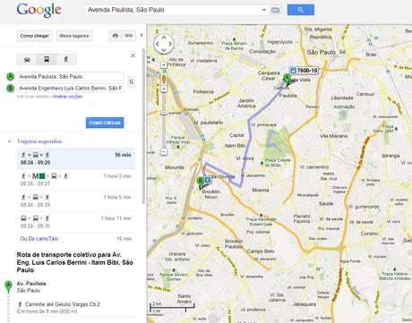 O serviço atual do Google indica qual ônibus o passageiro deve usar para o trajeto