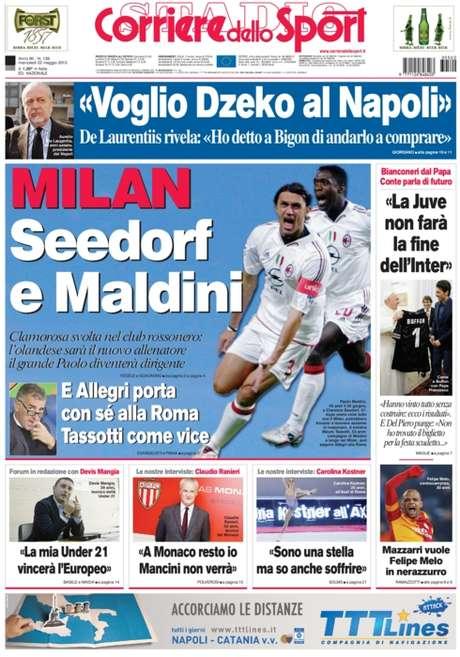 Capa do jornal Corriere dello Sport aponta que Seedorf será o próximo técnico do Milan; agente do jogador não confirma