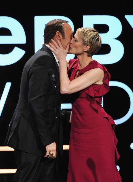 Os atores Kevin Spacey e Robin Wright participaram da premiação