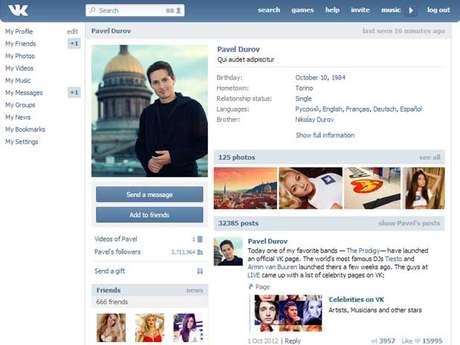 Rede social russa tem 210 milhões de usuários registrados