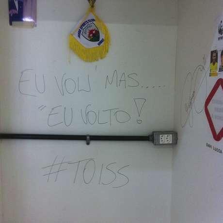 Neymar deixou mensagem na parede do vestiário do Santos