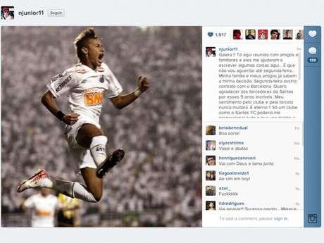 Neymar confirmou por meio de seu Instagram que vai trocar Santos por Barcelona