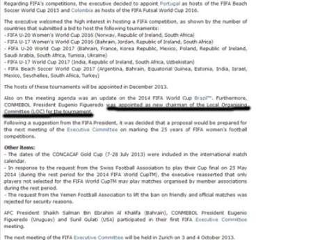<p>Site da Fifa havia declarado que o uruguaio assumiria o Comit&ecirc; Organizador Local da Copa de 2014. Informa&ccedil;&atilde;o foi corrigida cerca de uma hora depois</p>
