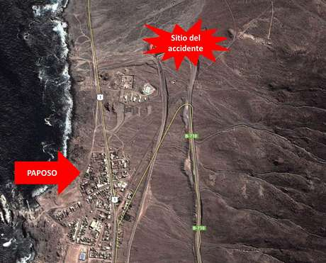 El accidente ocurrió en el kilómetro 3 de la ruta B 710, en las cercanías de Paposo, en la región de Antofagasta.