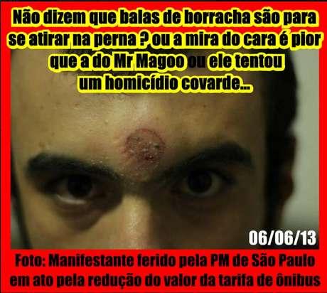 <p>Uma foto de um suposto manifestante, ferido por bala de borracha, circulou pelas redes sociais</p>