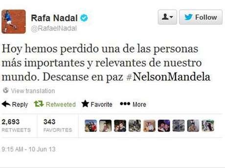<p>Tenista espanhol noticiou morte de ex-presidente sul-africano; mais tarde, se corrigiu</p>