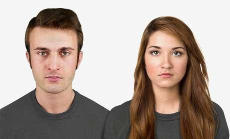 <p>Hoje -artista visual reproduziu um homem e uma mulher no modelo atual</p>