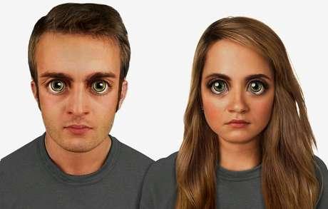 <p>Em 100 mil anos -o rosto será proporcional à proporção áurea. Os olhos serão extremamente grandes, com um verde brilhoso como os de gatos. O arco superciliar será ainda mais marcado</p>