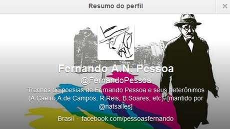 <p>Perfil publica frases e trechos do poeta português Fernando Pessoa</p>