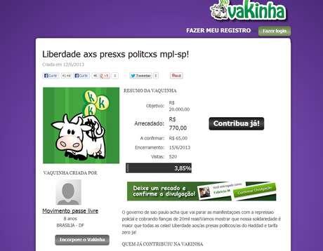 Movimento Passe Livre criou vaquinha na web para arrecadar dinheiro para fianças