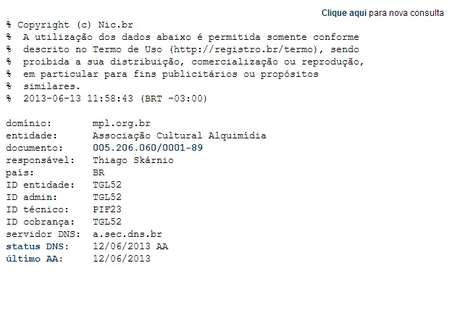 O domínio do Movimento Passe Livre está registrado em nome de Thiago Skárnio, conforme o registro.br