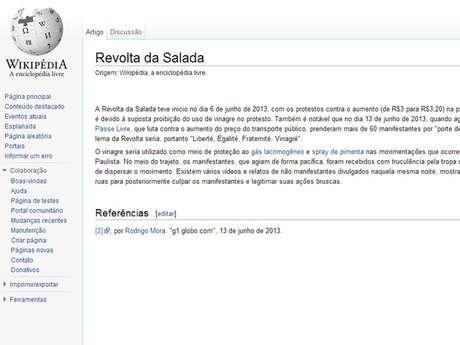 <p>Site Wikipédia ganhou uma página sobre a 'Revolta da Salada', em referência aos protestos contra o aumento das tarifas em São Paulo</p>