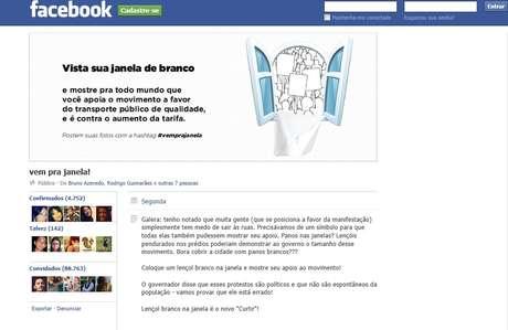 Evento criado no Facebook sugere uso de panos brancos nas janelas