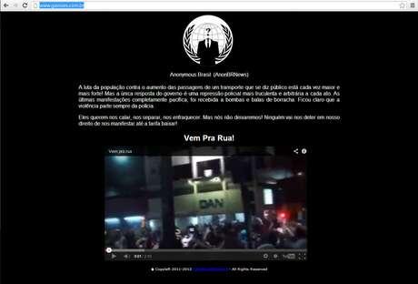 Uma mensagem assinada pelo grupo Anonymous Brasil foi postada no site da Gaviões da Fiel