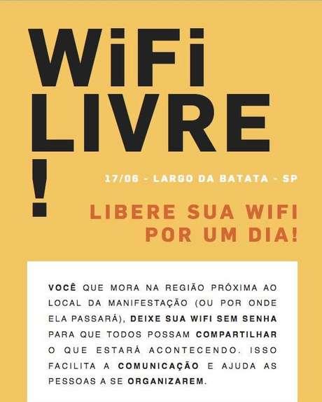 Cartaz que circula nas redes sociais pede que os moradores liberem o acesso às suas redes de internet