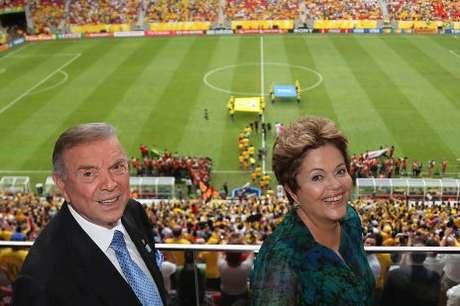 <p>Dilma e Marin lado a lado em um jogo da Copa das Confederações</p>