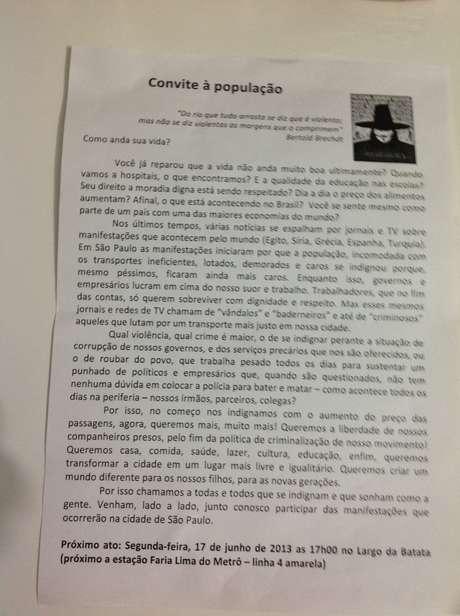 Panfleto distribuído no Largo da Batata diz que o movimento não é mais apenas pela passagem