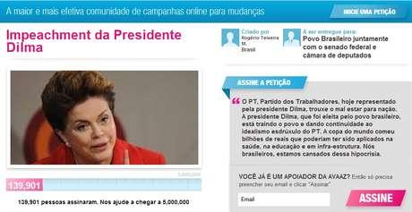 'A presidente Dilma, que foi eleita pelo povo brasileiro, está traindo o povo e dando continuidade ao idealismo esdrúxulo do PT', diz a petição