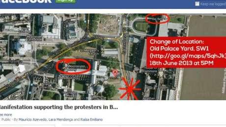 Brasileiro organizou protesto em Londres nesta terça-feira pelo Facebook