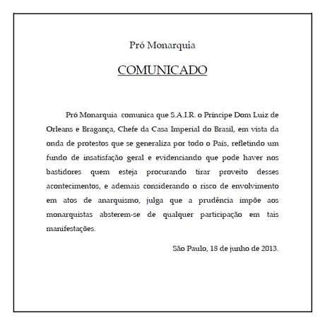 Casa Imperial do Brasil divulgou comunicado pregando afastamento de protestos