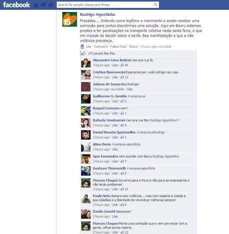 vc repórter: prefeito usa Facebook para se comunicar com manifestantes em SP