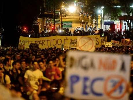 Manifestantes na Avenida Paulista, em São Paulo, no dia 22 de junho de 2013